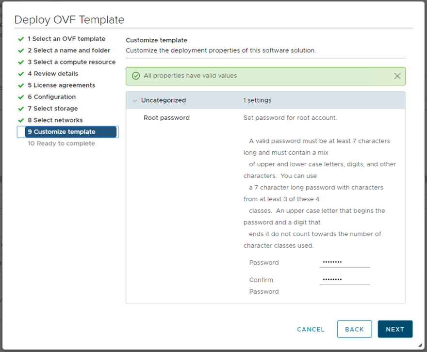 Give a root password for the vSAN Witness Appliance