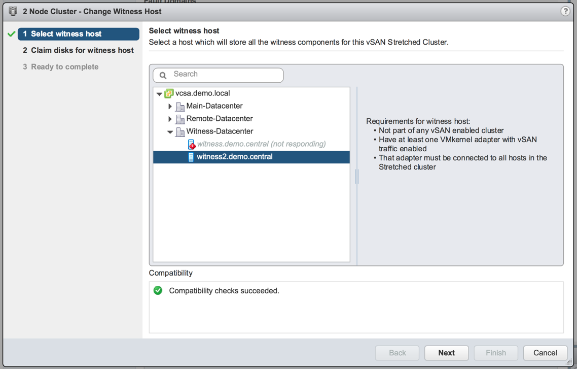 Select the new vSAN Witness Host to be used