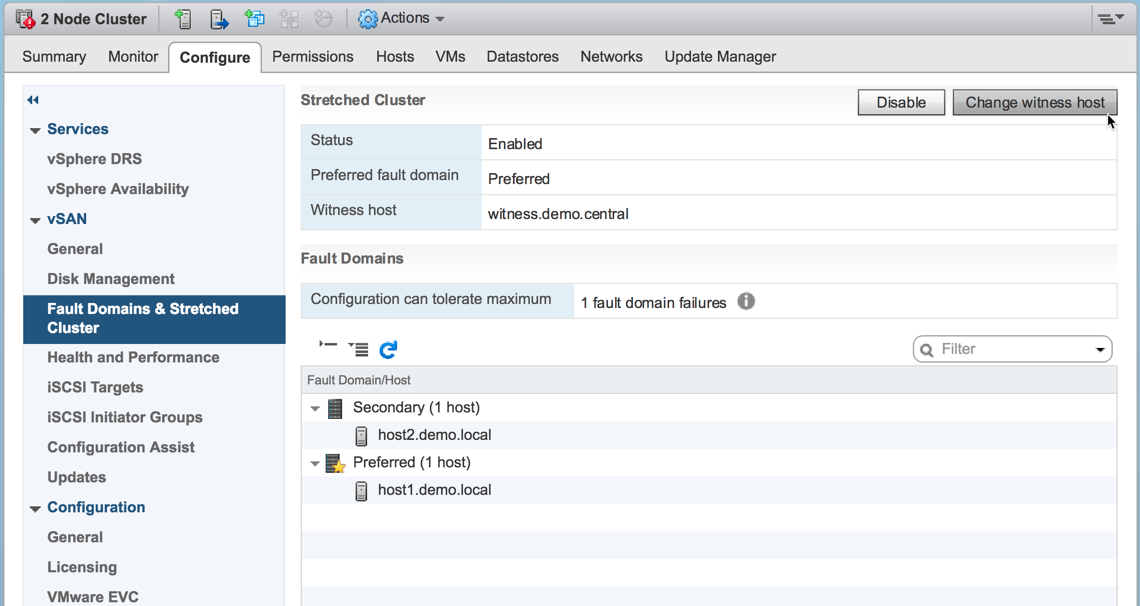 Replacing the vSAN Witness Host in vSAN 6.6 or higher using the vSphere Web Client