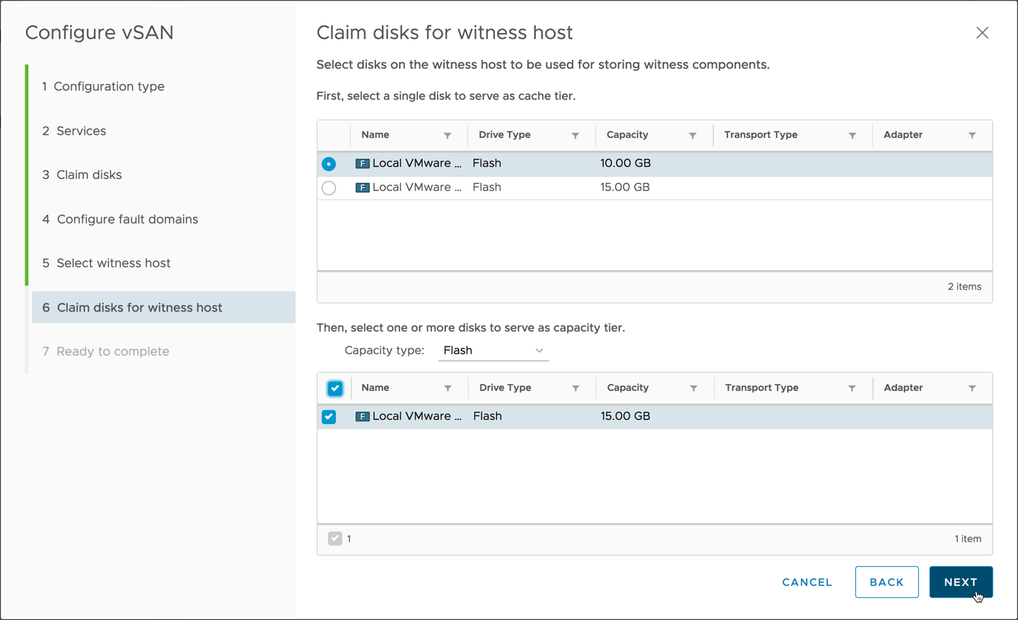 Create Step 6 Claim Disks for Witness Host