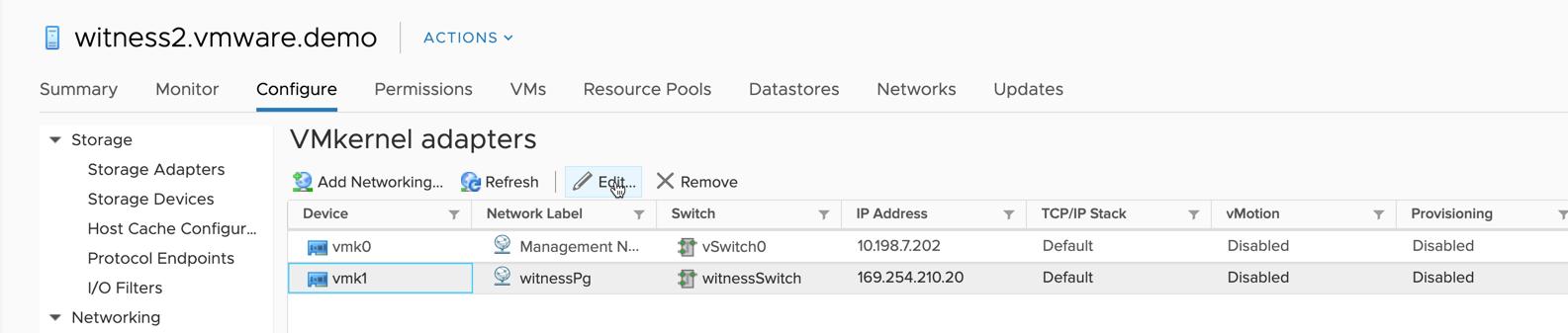 Configure the network address