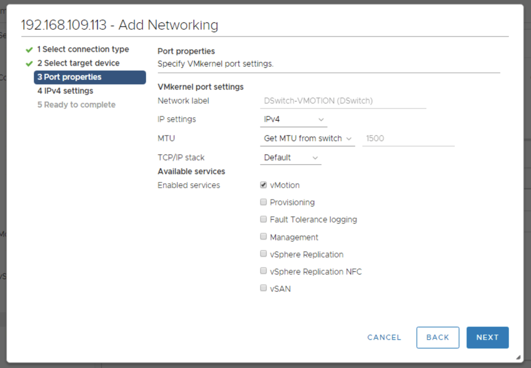 Configure the vMotion Network on the 3rd host