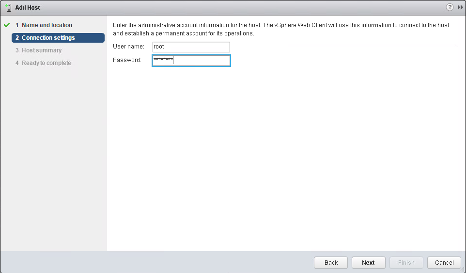 Provide the appropriate credentials. In this example, the root user and password.